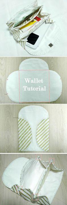 Accordion Women's  Fabric Wallet / Clutch / Purse. DIY Step by Step Tutorial   http://www.handmadiya.com/2016/05/accordion-purse-or-wallet-tutorial.html