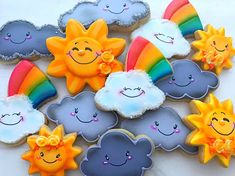 This listing is for 12 sunshine and rainbows sugar cookies. These super cute cookies are a proven fact that everything CAN be sunshine and rainbows! You will receive 4 sun cookies, 4 cloud cookies, and 4 rainbow cookies.