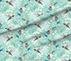 RK Designs Emerald Hummingbird custom fabric by rachael_king for sale on Spoonflower Surface Design, Hummingbird, Custom Fabric, Spoonflower, Printing On Fabric, Craft Projects, Gift Wrapping, King, Quilts