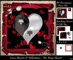 Love Hearts Valentines Yin Yang Heart 89i Tag on Craftsuprint - Add To Basket!