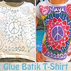 """Glue Batik t-shirt. Blue Elmer's Gel Glue and Acrylic Paint. Katie had fun doing this and wears her shirt as a night shirt. we watched a video on how Batik is done """"for real"""" in several Asian countries. Diy Art Projects, Projects For Kids, Crafts For Kids, Arts And Crafts, Design Projects, Diy Glue, Elmer's Glue, Architecture 101, Textiles"""