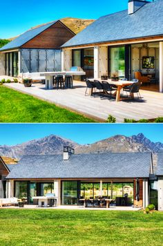 House Plans in Modern Architecture. Roof Design, Exterior Design, House Design, Shed Homes, Cabin Homes, Bungalow Renovation, Villa, Construction, Interior Design Living Room
