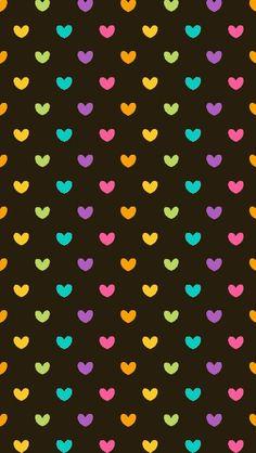 S2 WALLPAPERS Preto com Corações Coloridos.