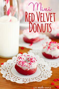 Mini Red Velvet Donuts on { lilluna.com } #donuts