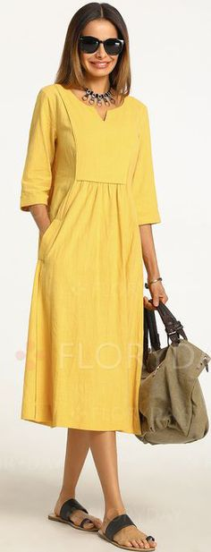 Solid Sleeves Midi X-line Dress – Floryday Latest fashion trends in women's Dresses. Shop online for fashionable ladies' Dresses at Floryday – your favourite high street store. Linen Dresses, Cotton Dresses, Floryday Dresses, Chiffon Dresses, Smocked Dresses, Sweater Dresses, Beach Dresses, Dresses Online, Bridesmaid Dresses