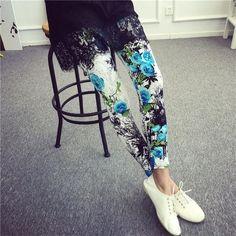 New 2016 Women Leggings Ninth Casual Pants Plaid Flowers Print Fitness Leggings Women Slim Leggings Cheap China Flower Leggins