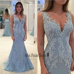 Open Back Mermaid V-neckline Blue Lace Evening Dresses