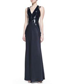 Cushnie et Ochs Plunging Patent-Bodice Gown - Neiman Marcus