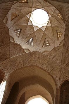 Roof of Shah Abbasi Caravanserai - Meybod, Iran. This was a desert inn for travelers along the Silk Road. Persian Architecture, Mosque Architecture, Religious Architecture, Historical Architecture, Ancient Architecture, Amazing Architecture, Art And Architecture, Architecture Details, Teheran