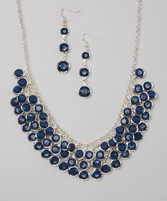 Another great find on #zulily! Navy & Silver Faceted Circle Bib Necklace & Drop Earrings by Fantasy World Jewelry #zulilyfinds