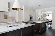 two-tone white  espresso kitchen; light gray linear backsplash, Goodman Pendants