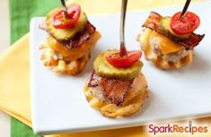 These bacon burger bites float on top of a tiny waffle fry. Such a cute party appetizer--great for football season, too! Only 70 calories each. Appetizer Recipes, Appetizers For Party, Dinner Recipes, Cheddar, Bacon, Mini Sandwiches, Mini Burgers, Good Food, Yummy Food