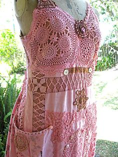 Handmade Blush Rose Dress - time to get those doilies out!