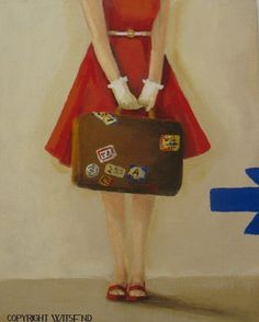 BUY THIS ORIGINAL PAINTING!!!!! Red Dress painting poppy travel fashion art still life by 4WitsEnd