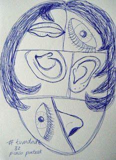 Sketchcrawl Gouda: Tekencursus #tvmdndt 32  Verdeel een groot ovaal in zes ongelijke vlakken. Teken in één vlak een neus. Draai je papier een kwart slag. Teken in vak 2 een oor. Draai je papier een kwart slag. Teken in vak 3 mond. Draai je papier een kwart slag. Teken in vak 4 een oog. Draai je papier een kwart slag. Teken in vak 5 nog een oor. Draai je papier een kwart slag. Teken in vak 6 nog een oog. Klaar. Kapsel erbij. Tekenen tekening tekenles drawing sketching