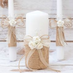 Rustic Wedding Candles Rustic Unity Candle Set Wedding Unity Candle Wedding Unity ideas Wedding Candles with Burlap Linen Roses lace Rustikale Hochzeit Kerzen rustikale Einheit Kerze Set Hochzeit Related posts: Diy Wedding Ideas Unity Ceremony, Wedding Unity Candles, Rustic Candles, Pillar Candles, Wedding Ceremony, Wedding Set, Ideas Candles, Diy Unity Candles, Chic Wedding