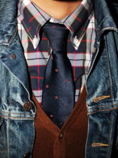 Denim Jacket _ Vest_ Tie_Shirt