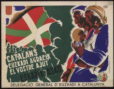 Catalans d'Euskadi agraeix el vostre ajut : Eskarik-asko :: Cartells (Biblioteca de Catalunya) Vintage Flag, Vintage Ads, Political Posters, Guernica, Party Poster, Children Images, Old Ads, World War Two, Spanish