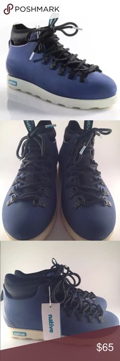 NWB Native shoes Blue Black lace up sneakers size9 NEW NATIVE SHOES BLUE BLACK LACE UP SNEAKERS SIZE 9    Description:  Lace Up Closure  Unisex Men's Size 7  Condition:  New With Tags Native Shoes Sneakers