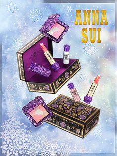 """「アナ スイ コスメティックス(ANNA SUI COSMETICS)」は、2015年のホリデーシーズン限定アイテムを11月1日(日)より発売。""""Mystic Snow""""... Makeup Tips, Beauty Makeup, Make Me Up, How To Make, Shades Of Purple, 50 Shades, Cosmetics & Perfume, Birthday Board, Anna Sui"""
