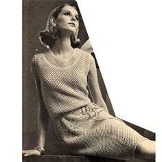 Knitted Sleeveless Belted Dress Pattern.   Here' a loose knit, stockinette stitch, with a founded neckline, belted waist and knee length. A soft and comfortable choice.   l   Vintage Knit Crochet Pattern Shop