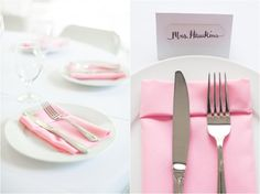 Pink and white place setting for wedding. Click to view more from this wedding! Smithview Pavilion, Knoxville Wedding Photographer, Maryville wedding, pink wedding ideas, pink wedding