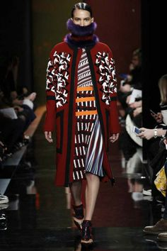 Peter Pilotto 2014 Fall long coat in red with patterns and big pocket
