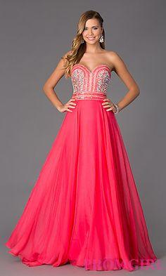 Strapless Sweetheart Floor Length Dress by Rachel Allan at PromGirl.com