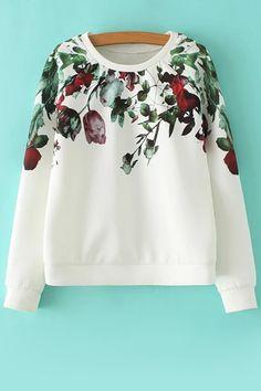 Floral Jewel Neck Long Sleeve Sweatshirt