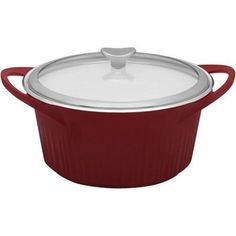 CorningWare 5.5-Quart French White Cast Aluminum Dutch Oven with Glass Cover, Red