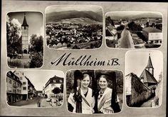 Ansichtskarte / Postkarte Müllheim im Kreis Breisgau Hochschwarzwald, Kirche, Trachten, Gesamtansicht