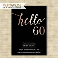 These black and gold birthday invitations are a perfect way to invite friends and family to a party! I can print your cards or simply purchase just the digital file and print yourself! Happy Birthday Wishes Nephew, 60th Birthday Ideas For Mom, 60th Birthday Party Decorations, 60th Birthday Party Invitations, 60th Birthday Cakes, 18th Birthday Party, Birthday Wishes Quotes, Mom Birthday, Birthday Cards
