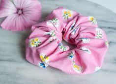 #HairScrunchie - #Hair #Accessory - #Pink Scrunchie - #Handmade #Scrunchy - #Floral - #Cotton #Scrunchie - #Ponytail
