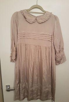 UK Size 12 Silk Peter Pan Collar Smock Style Dress Frill Sleeves