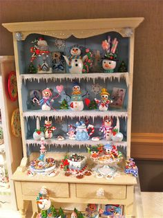 Dollhouse Snowman Christmas Hutch