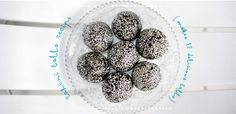 Almond (or any nut) meal desiccated coconut black tahini  raw honey or agave, maple or rice syrup or coconut nectar...etc http://janellapurcell.com/recipe/black-tahini-bliss-balls/