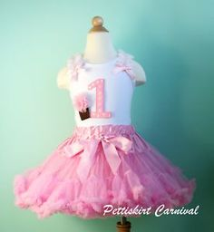 1ST BIRTHDAY CUPCAKE LIGHT PINK PETTISKIRT TANK TOP 2PC PARTY DRESS OUTFIT
