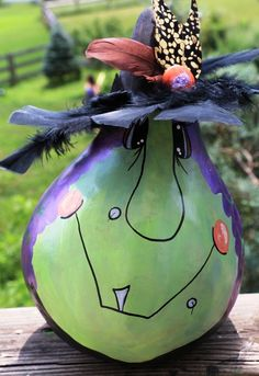 WitchyPoo Corina Handpainted Signed gourd for HALLOWEEN and FALL!!                                                                                                                                                      More