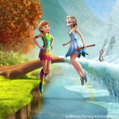 Anna and Elsa as Tinkerbell and Periwinkle