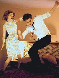 "Elizabeth Banks and Leonardo DiCaprio dancing in a deleted scene from ""Catch Me If You Can"""