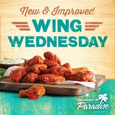 Get the best wings in town for $0.75 each every Wednesday in Paradise for #WingWednesday http://www.cheeseburgerinparadise.com/promos/weekdayspecials/