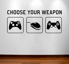 """RaDecal """"CHOOSE YOUR WEAPON""""   Video Game Gaming Vinyl Decal Wall Sticker Mural - Kids Children Boys Teenager Teens Bedroom, Man Cave Room Art Ideas Canvas Home Decor (PC, XBOX, PLAYSTATION Game Controllers)"""