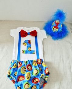 Rylo Curious George cake smash outfit with party hat, Curious George birthday, 1st 2nd 3rd  birthday, Curious George Shirt, you pick bowtie on Etsy, $38.00