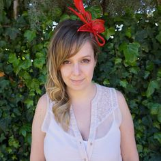 Red Fascinator Navy Blue Fascinator, Red Fascinator, Tea Party Hats, Church Hats, Fancy Hats, Wedding Hats, Derby Hats, More Cute, Hair Pins