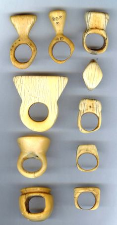 Africa | collection of Ivory rings dating from the 19th to early 20th century.  The rings come from different tribes, such as the Dinka, Mongbetu