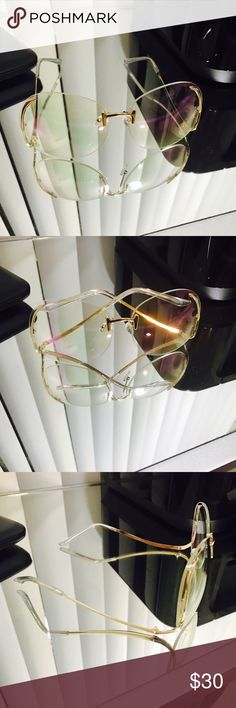 Vintage frames Vintage 70 style sunnies swirl swoop frame clear lens gold hardware Accessories Glasses