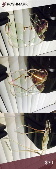 Vintage frames Vintage 70 style sunnies swirl swoop frame clear lens gold hardware Accessories Glasses