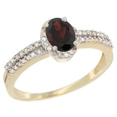 10K Yellow Gold Natural Garnet Ring Oval 6x4mm Diamond Accent, sizes 5-10 * Awesome product. Click the image : Promise Rings