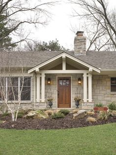 Our Small Ranch House with Porch Addition - traditional - porch House Front, Ranch House Remodel, Ranch House Exterior, House Exterior, Home Exterior Makeover, Exterior Design, Ranch Style, Ranch Style Homes, Traditional Porch