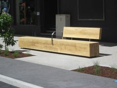contemporary public bench in wood and steel Accsys Technologies